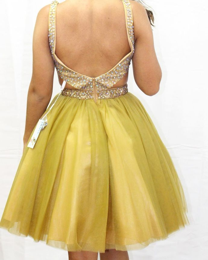 Sexy Short Tulle Yellow Homecoming Dress, Beaded Party Gown