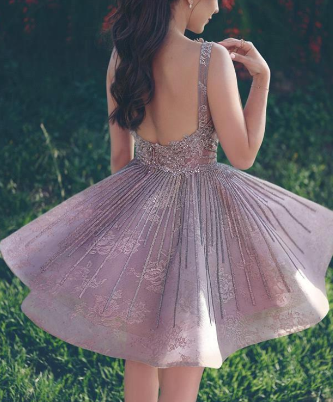 Lace A Line Homecoming Dresses, Applique Beaded Backless Knee Length Short