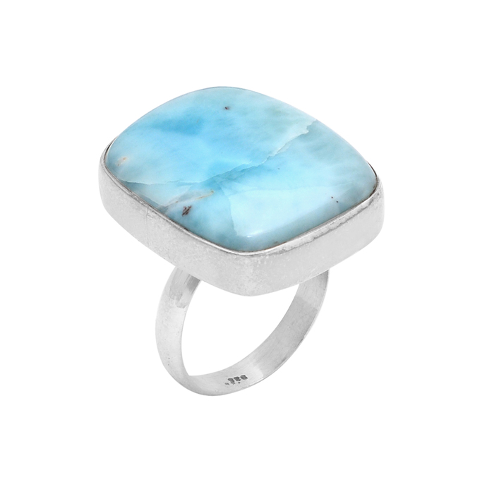 925 STERLING SILVER GORGEOUS LARIMAR HANDMADE RING JEWELRY