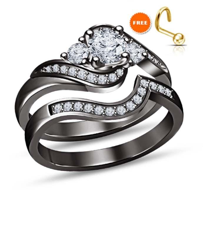 Round Cut White Diamond 14K Black Gold Finish Engagement Wedding Bridal Ring Set