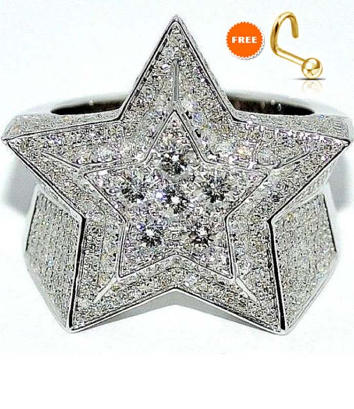 10k White Gold Finish Diamond Ring for Men Solid 925 Sterling Silver Extra Wide