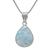 925 Sterling Silver Larimar Pear Cabochon Semi Precious Gemstone Pendant Jewelry