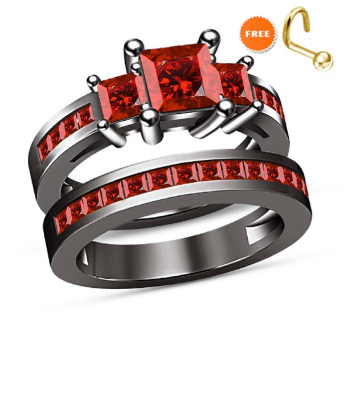 925 Sterling Silver Princess 14K Black Gold Finish Red Garnet Ladies Engagement