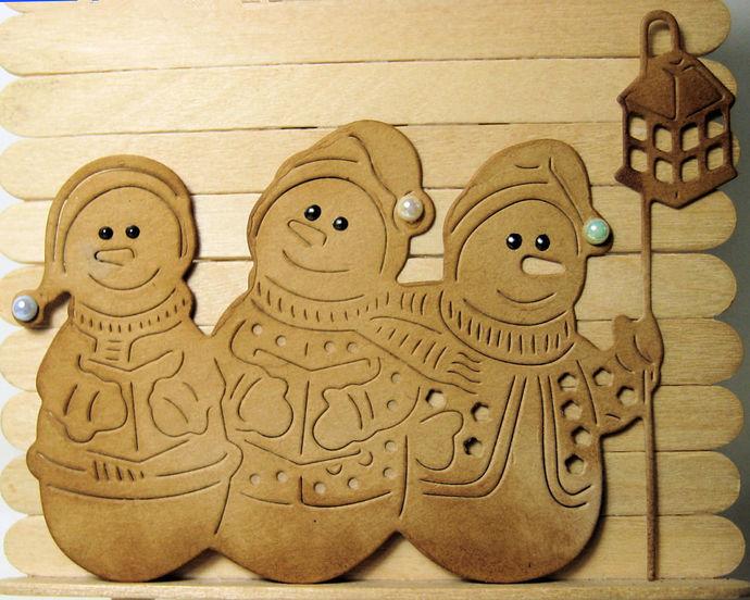 3 Snowmen with Lantern Cutting Die