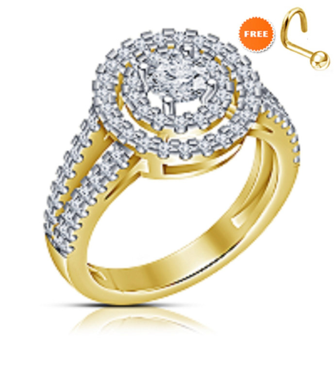 Lady Rings Halo Stone Sim Diamond Rhodium Plated Party Solitaire Jewelry Special