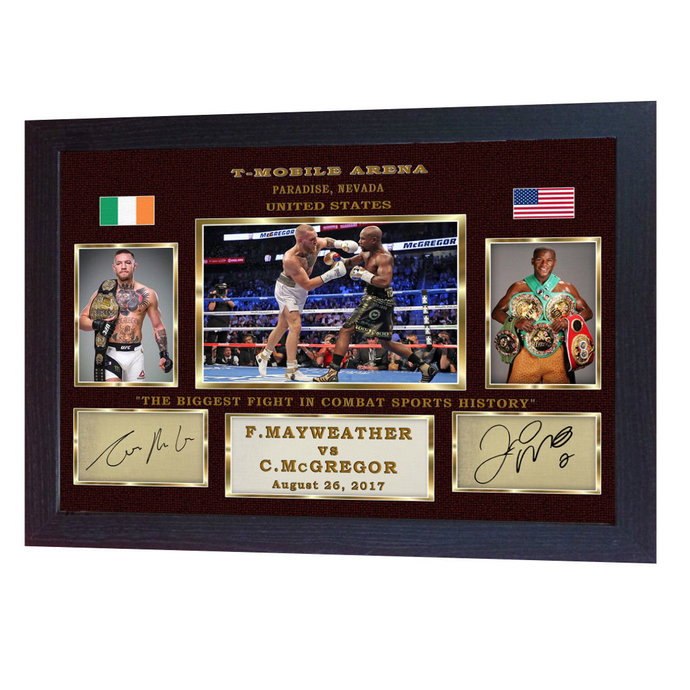 Conor McGregor Floyd Mayweather Jr Las Vegas signed autograph photo print Framed