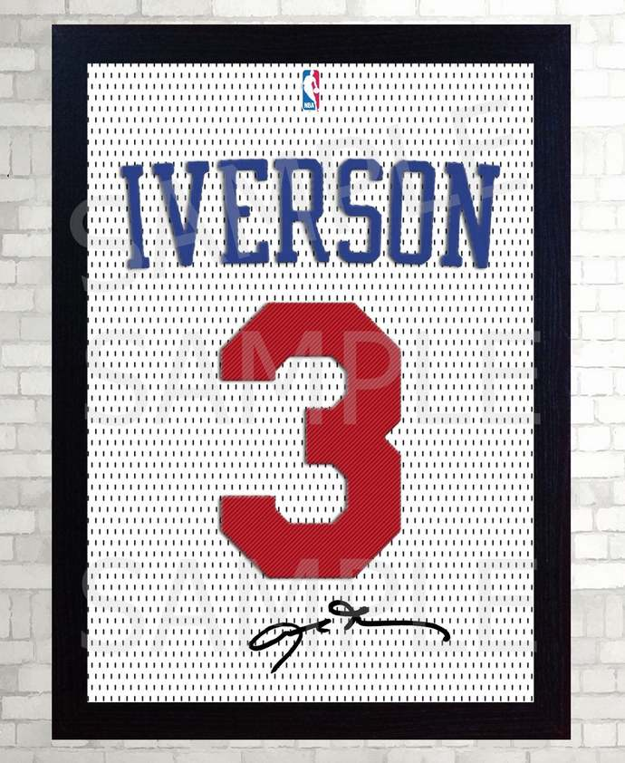 ALLEN Iverson SIXERS Phila 76ers basketball NBA signed Jersey t-shirt Canvas