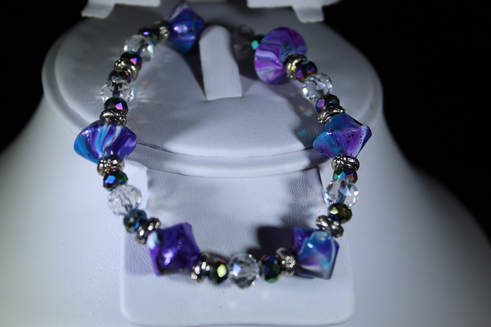 "Handmade multi-colored purple polymer clay stretch bracelet 6 1/2""-7"" Free"