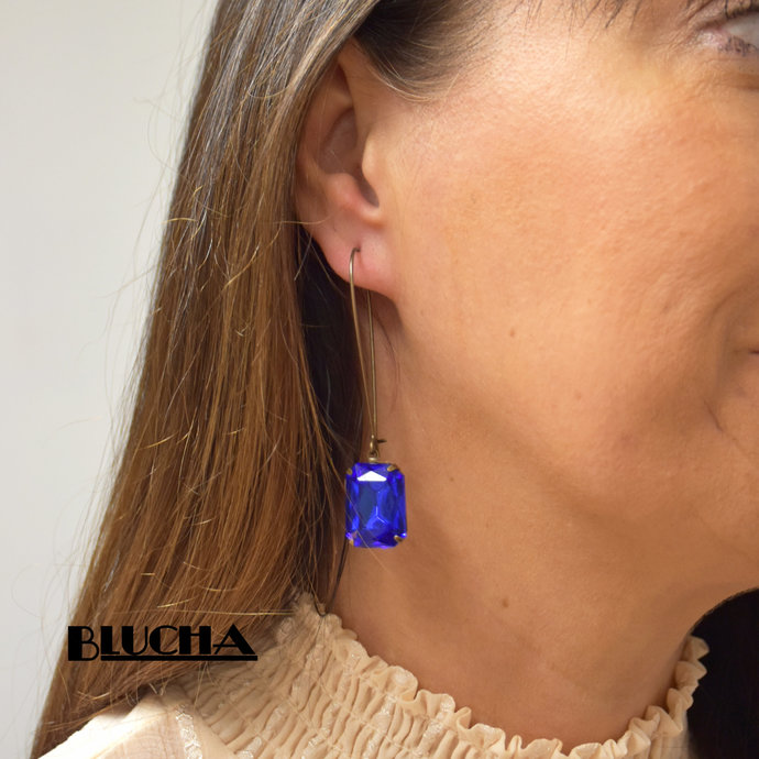 Long Sapphire Blue Drop Earrings with Vintage Crystals, Blucha™ UK Handmade