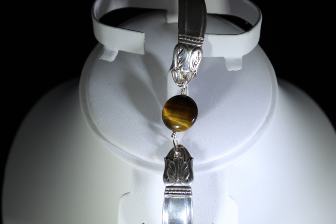 Tulip design spoon bracelet with gorgeous tiger eye center. With magnet clasp!