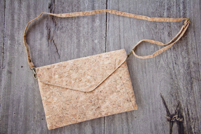 Cork handbag, clutch handmade from recyclable cork, vegan