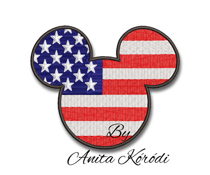 Mickey Mouse Usa Embroidery Machine Designs Pes Instant Download digital Pattern