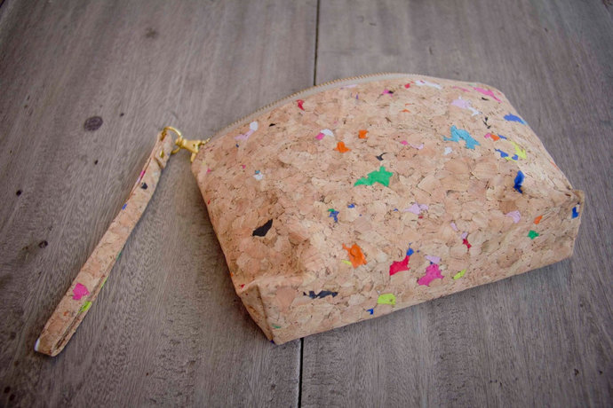Small Cosmetic Bag, made from cork with color dots, handmade and vegan