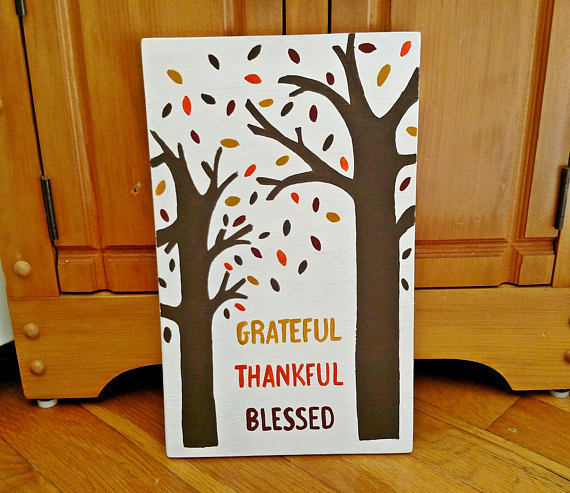 Wood Sign, Grateful Thankful Blessed, Fall Decor, Fall Signs