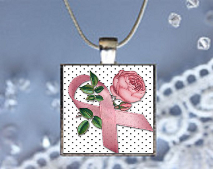 Pendant Necklace Pink Ribbon (Breast Cancer Awareness)