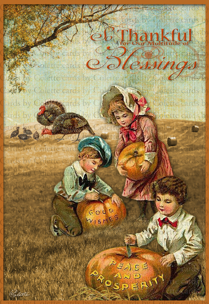 Thanksgiving Children Carving Words Digital Collage Greeting Card2401