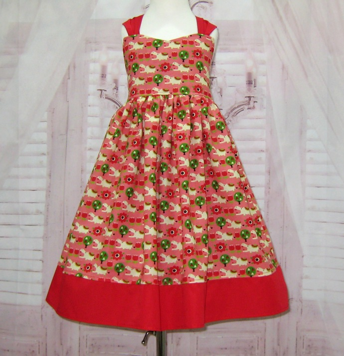 Girl Red Dress, Red and Pink Dress, Hippopotamus Dress, Pink Girl Dress, Red Bow