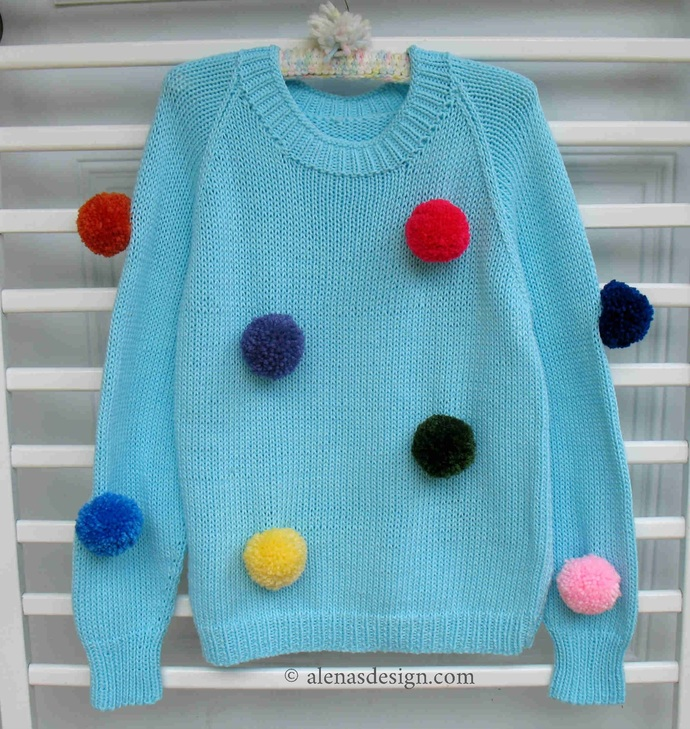 Knitting Pattern 241 Toddler Children Sweater Bear Pom-Pom Pullover Child sizes
