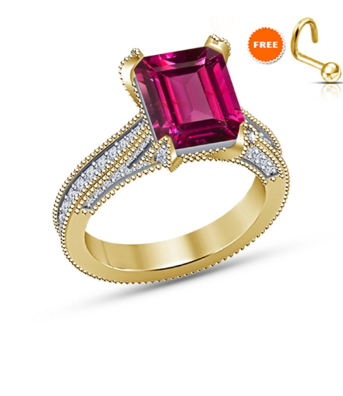 Ruby Ring - Gold Finish Ring - July Birthstone - Engagement Ring - Prong Ring -