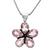 Sterling Silver Pink Amethyst Faceted Pear Semi Precious Gemstone Flower Pendant