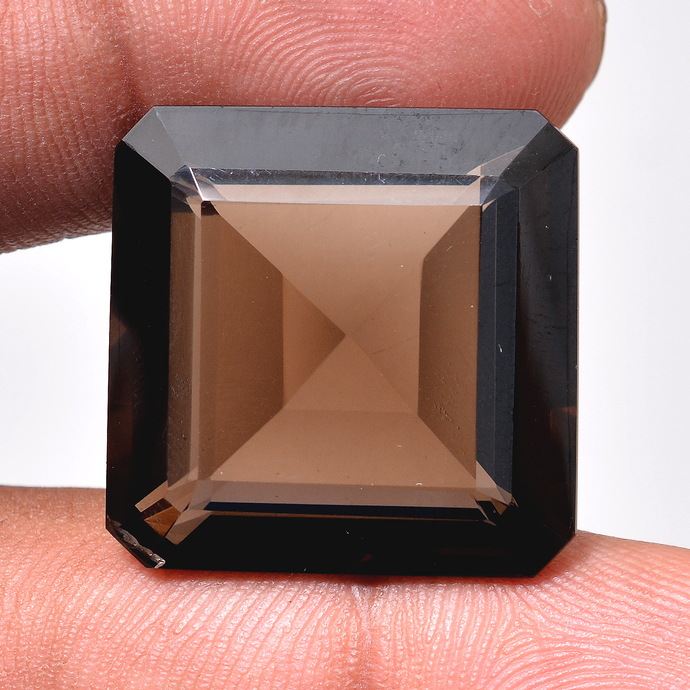 Faceted Smoky Quartz Emerald cut 23mm Loose Semi Precious Gemstone