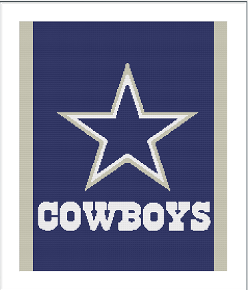 Cowboys Throw - 200 x 240 - Graph and Written Included, This is Fan Art Only
