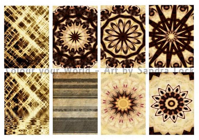 ACEO ATC mandala and textured backgrounds printable digital sheet