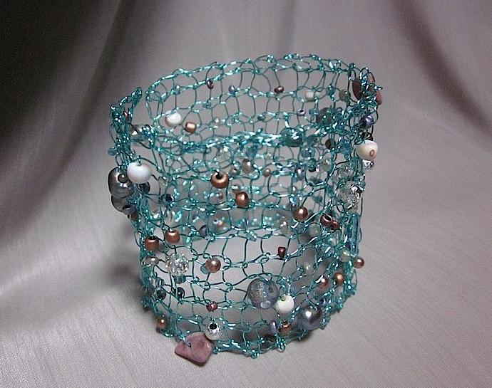 Handknit Aqua Blue Wire Beaded Cuff Bracelet for sale