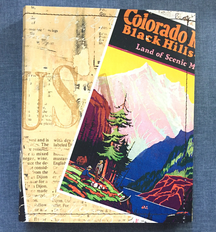 Handmade Notebook with wallpaper cover - Retro-looking travel poster  80 pages