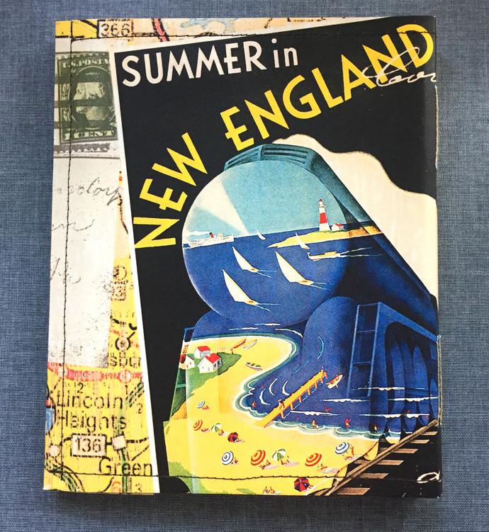 Colorado Rockies & New England - Retro-looking travel poster - Handmade Notebook