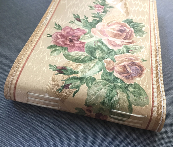 Roses border - Small Handmade Notebook with wallpaper cover
