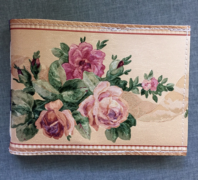 Handmade Notebook with wallpaper cover - Rose border 72 pages