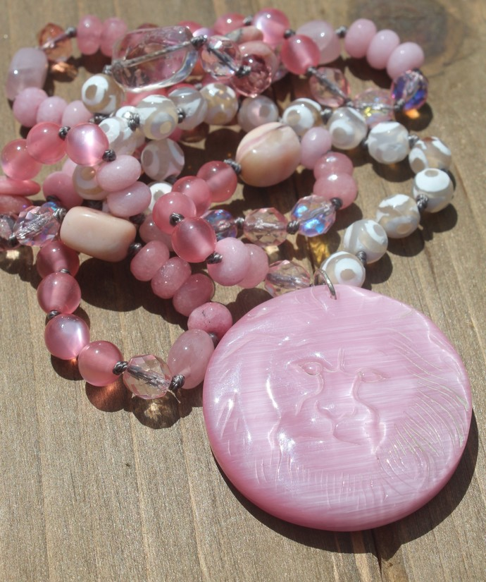 Lion Long Beaded Necklace with Pendant in Pink by KnottedUp