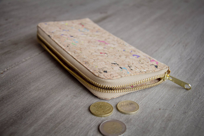 Wallet handmade from cork with color dots, briefcase with zipper, vegan