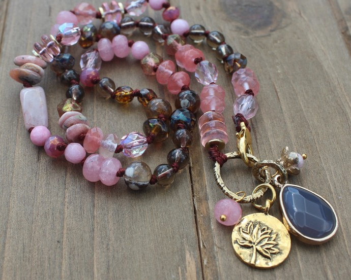 "Pink Lotus Necklace by KnottedUp 20"" Rose & Brown Hand knot Beaded Jewelry"
