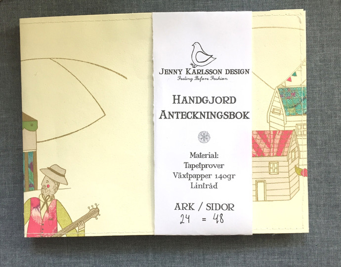 Handmade Notebook with wallpaper cover - Circus Music 48 pages