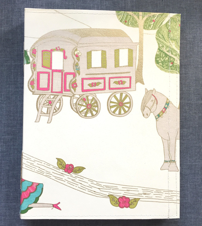 Circus Caravan - Handmade Notebook with wallpaper cover
