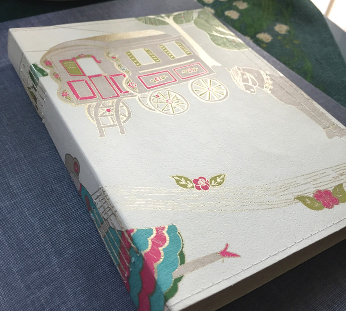 Handmade Notebook with wallpaper cover - Circus Caravan 80 pages