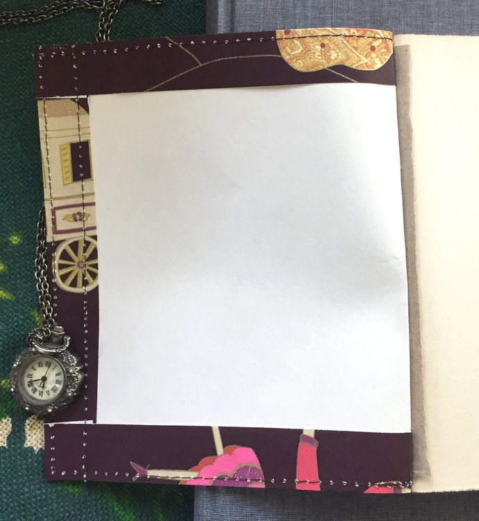 Handmade Notebook with wallpaper cover - Circus Caravan in Dark maroon 80 pages