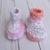 Crochet Baby Girl Hat Booties -  Baby Girl Shower Gift Set - Pink White Orange