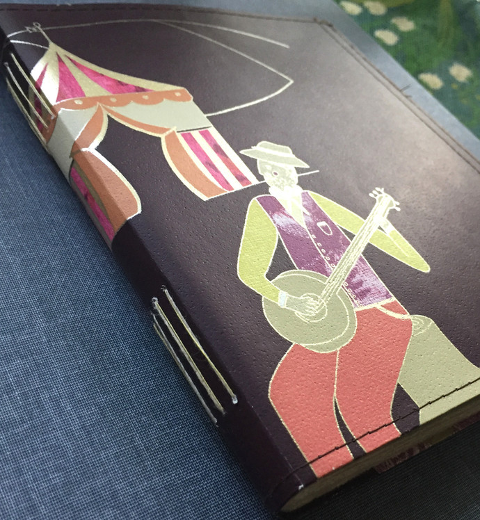 Handmade Notebook with wallpaper cover - Circus Musicians in Dark maroon 80
