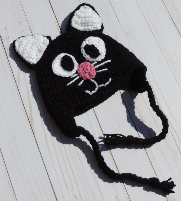 Crochet Cat Earflap Winter Hat for Newborn Baby Toddler Child Adult