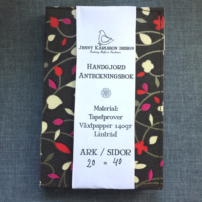 Dark with flowery swirls - Small Handmade Notebook with wallpaper cover
