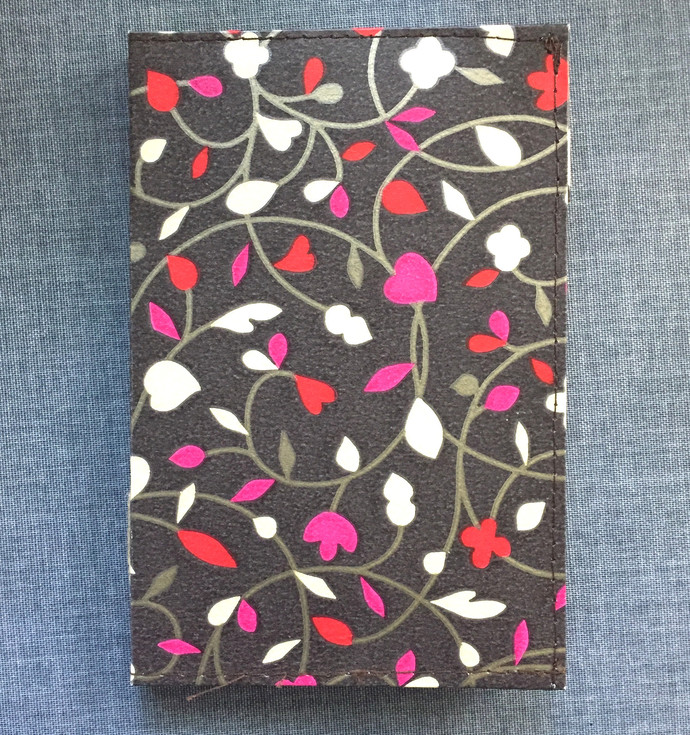 Handmade Notebook - Small with wallpaper cover Dark flowery 40 pages