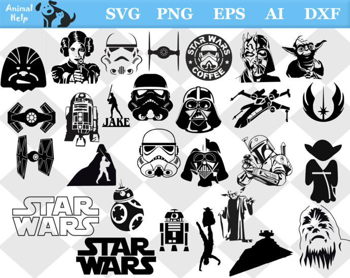 star wars svg, star wars png, star wars eps, star wars dxf, star wars clipart,