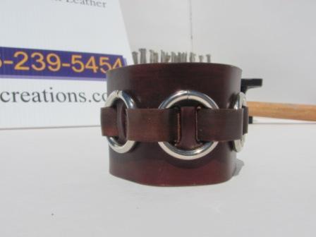 OOAK 3 metal ring Leather Cuff