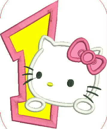 Hello Kitty and Number One Embroidery Applique Design