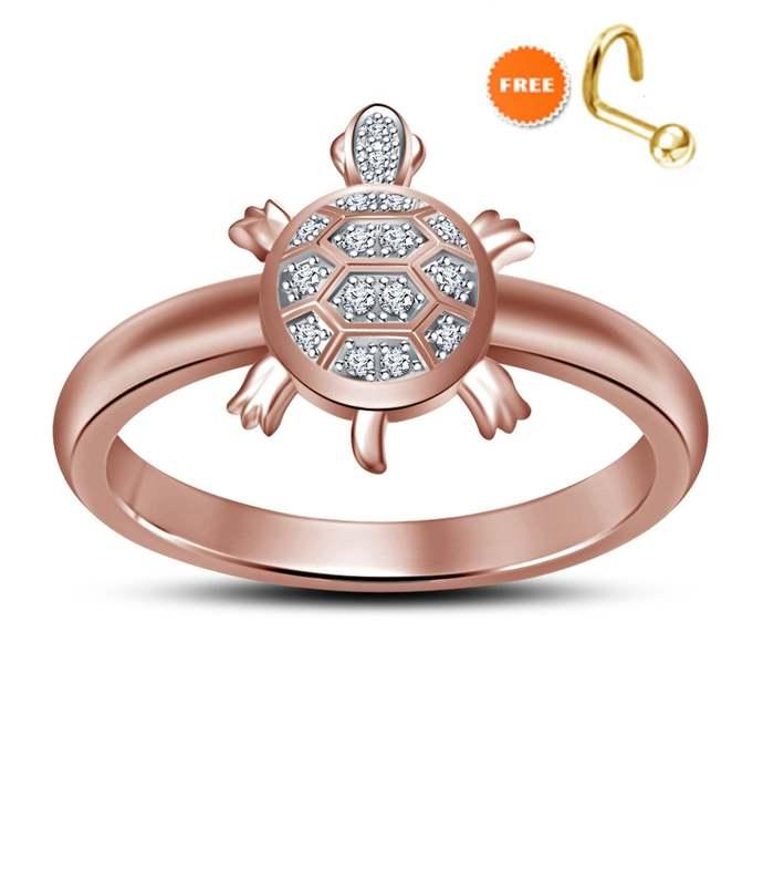 10k Rose Gold Plating ,Turtle ring,midi ring,Unique Diamond Turtle Ring women's