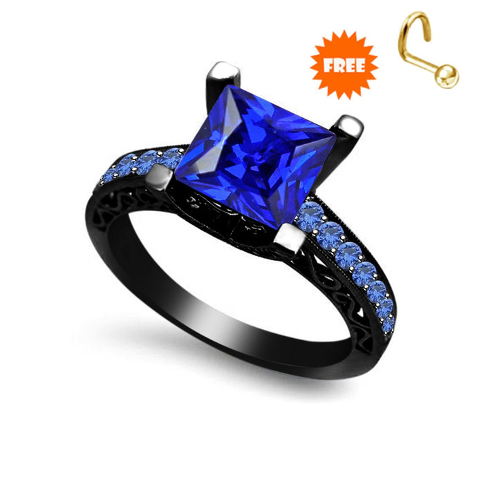 14K White Gold Finish Ring Blue Sapphire With White Sidestone Womens Ring