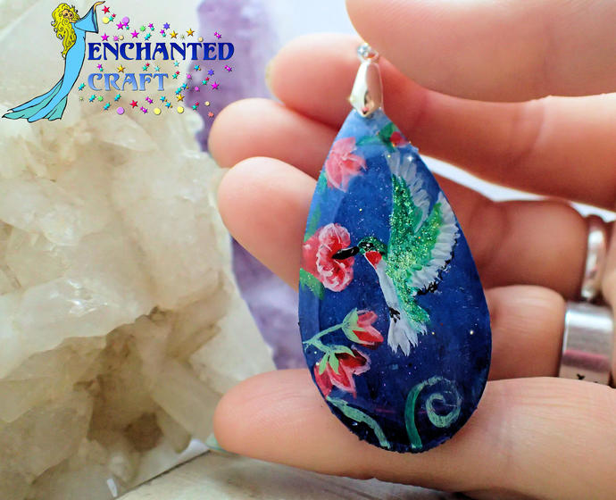 Lovely handpainted Hummingbird on blue wood pendant resin coat on both sides red